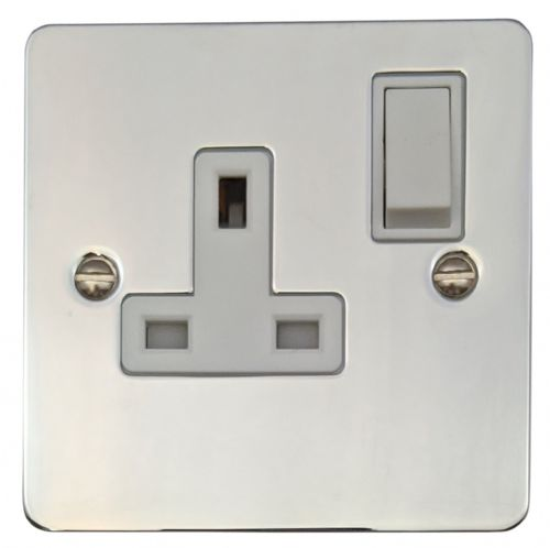G&H FC9W Flat Plate Polished Chrome 1 Gang Single 13A Switched Plug Socket